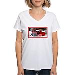 Keeshond - Old Car Christmas Women's V-Neck T-Shir