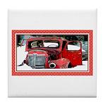 Keeshond - Old Car Christmas Tile Coaster