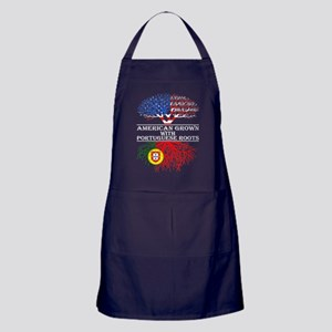 American Grown With Portuguese Roots Apron (dark)