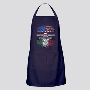 American Grown With Italian Roots Apron (dark)