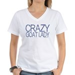 Crazy Goat Lady 2 Women's V-Neck T-Shirt