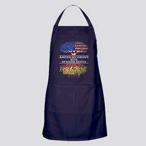 American Grown With Spanish Roots Apron (dark)