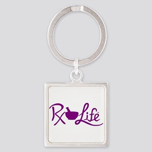 Purple Rx Life Square Keychain
