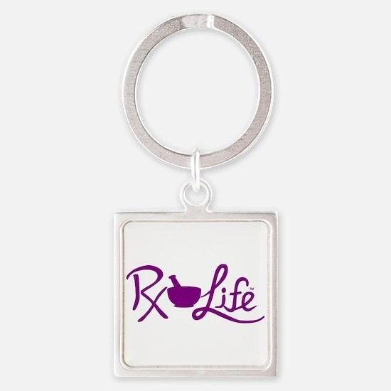 Purple Rx Life Square Keychain