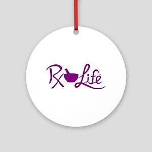 Purple Rx Life Round Ornament