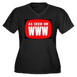 As Seen On WWW Women's Plus Size V-Neck Dark T-Shi