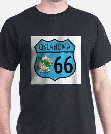 Route 66 Oklahoma sign and Flag T-Shirt