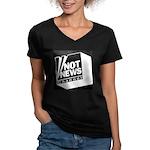 Not News Channel Women's V-Neck Dark T-Shirt