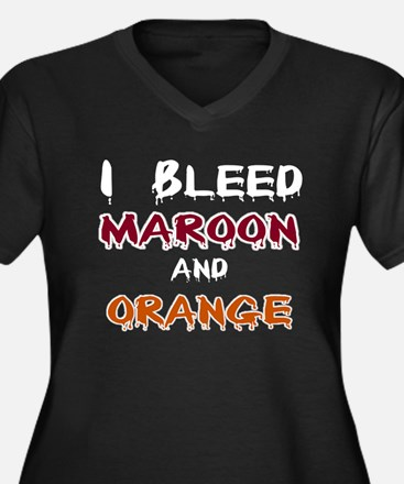 I Bleed Maroon and Orange Women's Plus Size V-Neck