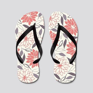 Coral and Gray Floral Pattern Flip Flops