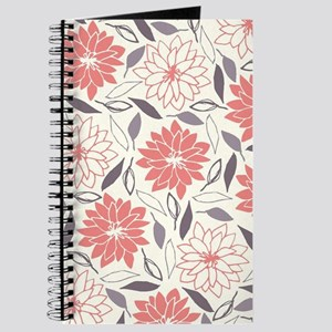 Coral and Gray Floral Pattern Journal