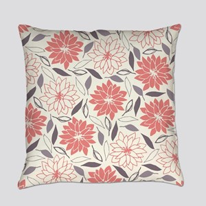 Coral and Gray Floral Pattern Everyday Pillow