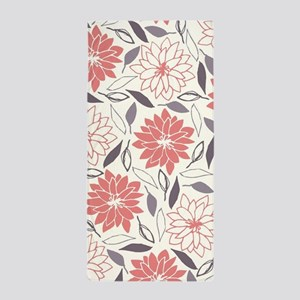 Coral and Gray Floral Pattern Beach Towel