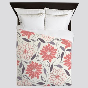 Coral and Gray Floral Pattern Queen Duvet