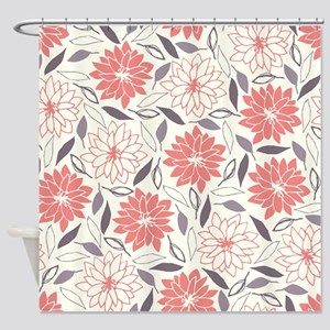 Coral And Gray Floral Pattern Shower Curtain