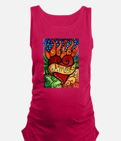 Flaming Milagro Heart Maternity Tank Top