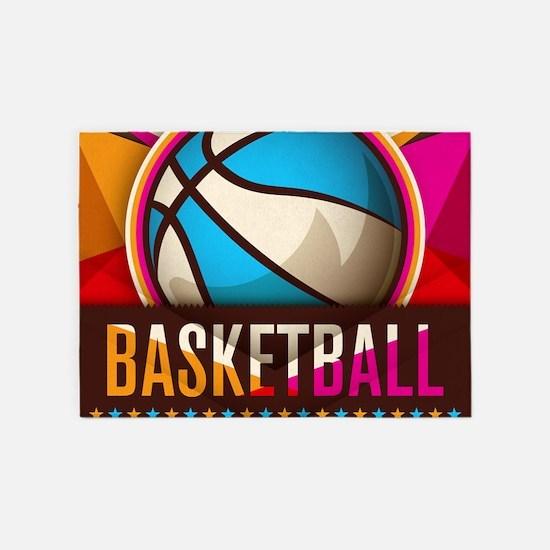 Basketball Sport Ball Game Cool 5'x7'Area Rug
