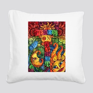 Peace on Earth Sun and Moon Square Canvas Pillow