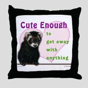 Cute Enough Ferret Throw Pillow