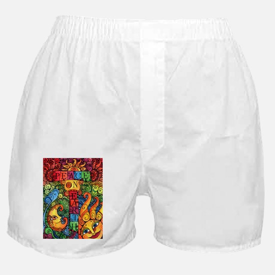 Peace on Earth Sun and Moon Boxer Shorts