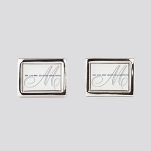Elegant Name and Monogram Rectangular Cufflinks