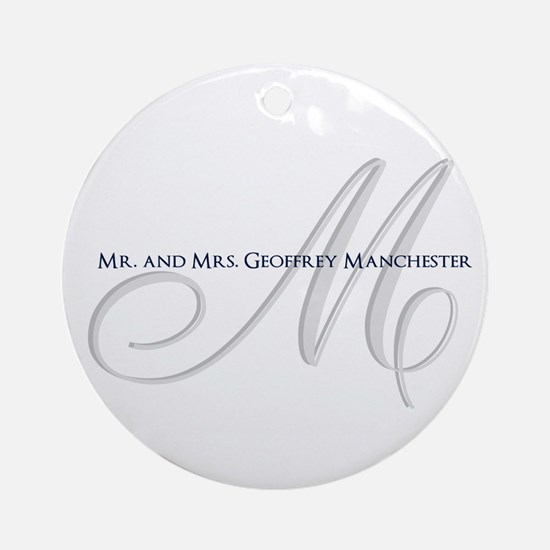Elegant Name and Monogram Round Ornament