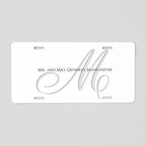 Elegant Name and Monogram Aluminum License Plate