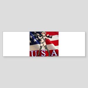 Military Girl With Gun Bumper Sticker