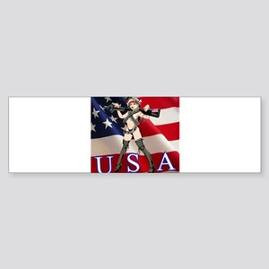 Military Girl With Gun Bumper Sticker