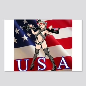 Military Girl With Gun Postcards (Package of 8)