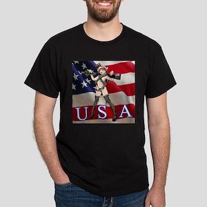 Military Girl With Gun Dark T-Shirt