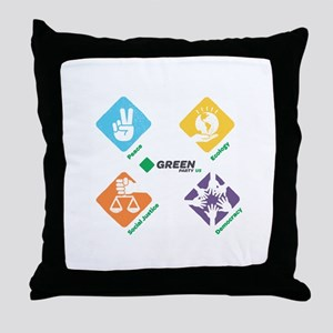 Green Party US 4 Pillars White Fade Throw Pillow