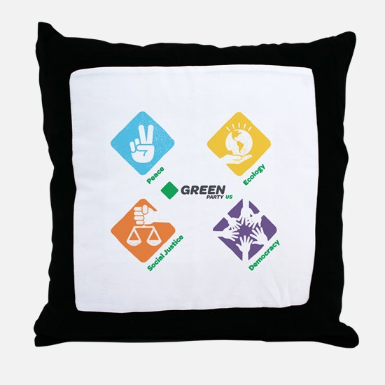 Green Party US 4 Pillars White Fade Throw Pillow