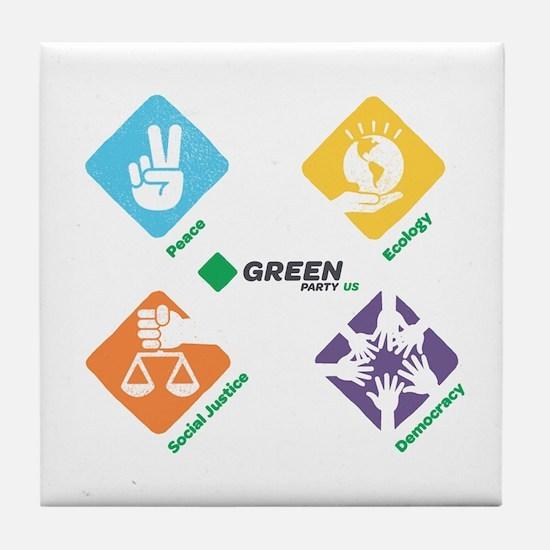 Green Party US 4 Pillars White Fade Tile Coaster