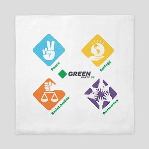 Green Party US 4 Pillars White Fade Queen Duvet