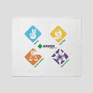 Green Party US 4 Pillars White Fade Throw Blanket