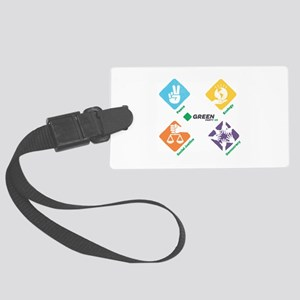 Green Party US 4 Pillars White Fade Luggage Tag