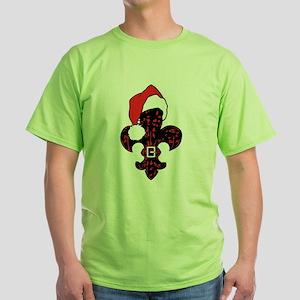 Santa Fleur de lis (red) Green T-Shirt