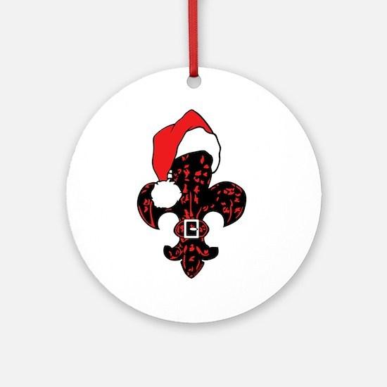 Santa Fleur de lis (red) Ornament (Round)