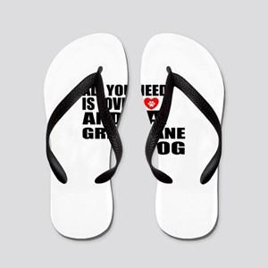 All You Need Is Love Great Dane Dog Flip Flops