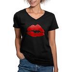 Lipstick Kiss Women's V-Neck Dark T-Shirt