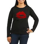 Lipstick Kiss Women's Long Sleeve Dark T-Shirt