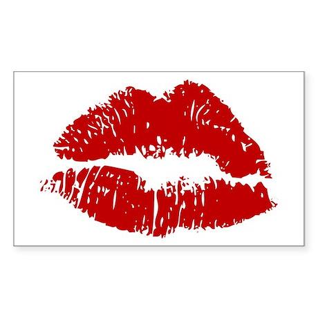 Lipstick Kiss Rectangle Sticker
