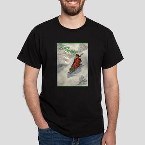 Winter Sledding Fun Dark T-Shirt