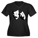 Drama Masks Women's Plus Size V-Neck Dark T-Shirt