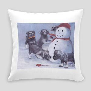 Standard Schnauzer Puppies with a Snowman Everyday