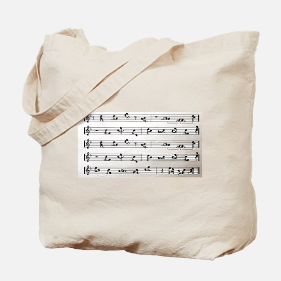 Kama Sutra Music Notes Tote Bag