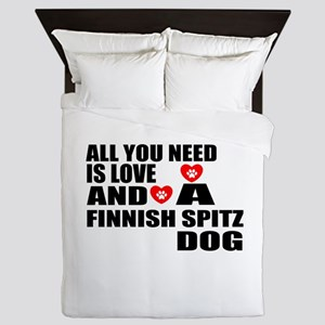 All You Need Is Love Finnish Spitz Dog Queen Duvet