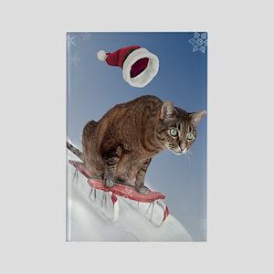 Sledding Cat Christmas Magnet