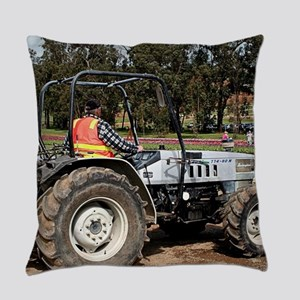 Tractor amongst the tulips, Danden Everyday Pillow